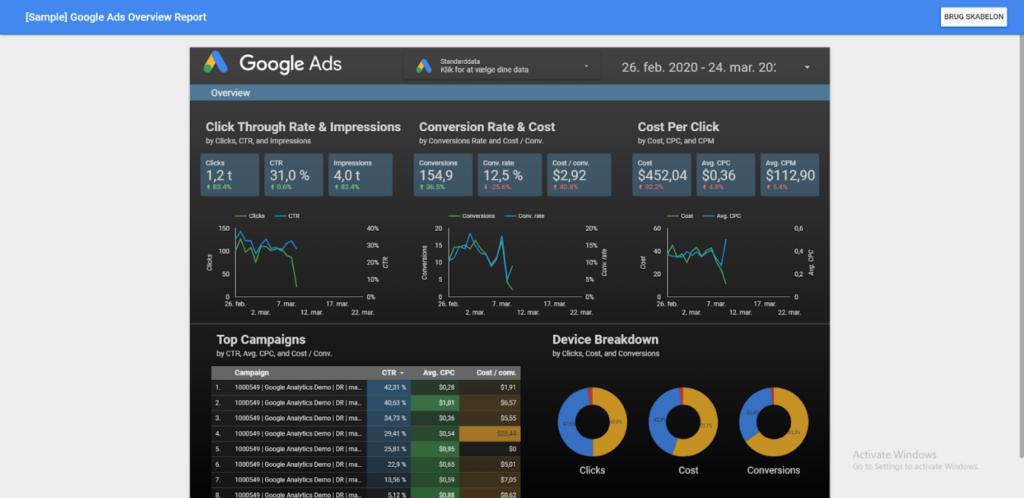 Google Data Studio eksempel