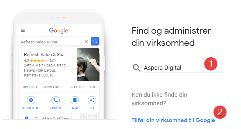 Google My Business oprettelse - Step 2